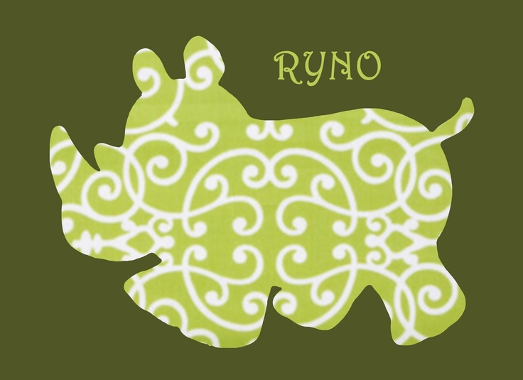 Well they spelled rhino wrong lol but you could do this by tracing an outline on cute scrapbook paper and then cut it out @Evan Chandler