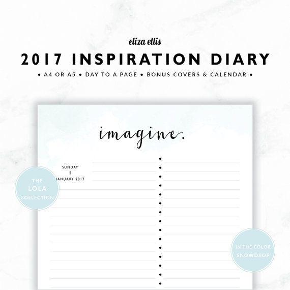 2017 DAILY PLANNER / A4 Daily Planner / A5 Daily Planner / Daily Planner / Quote Prints / Day Planner / The Lola Planners in Snowdrop / 406