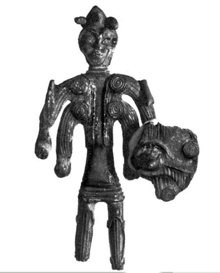 Bronze sculptures, Sardinia, warrior from 4 eyes and 4 arms