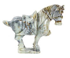 Scultura decorativa in giada Cavallo grigio/avorio - 22x25x7 cm