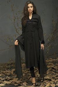 Midnight Black Linen Churidar Suit
