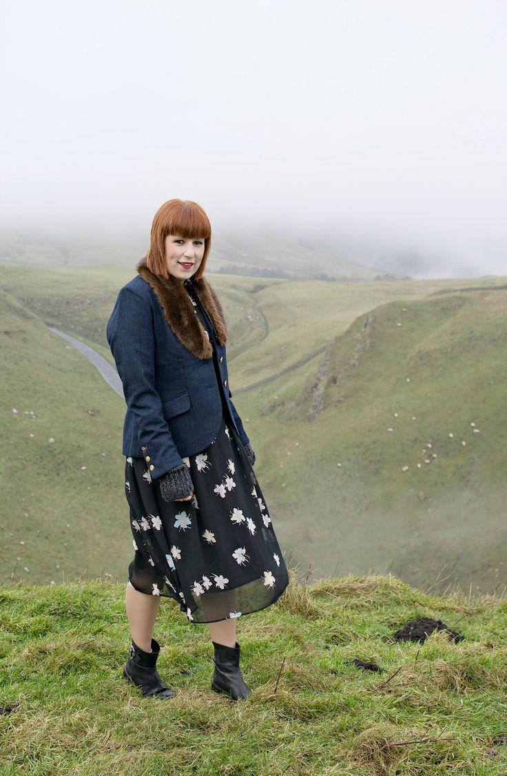 Rustic britstyle with black printed dress and Joules tweed jacket