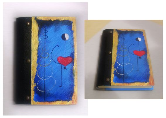 DANCER - MIRO WOODEN NOTEBOOK, TOTALLY HANDMADE AND HAND PAINTED...