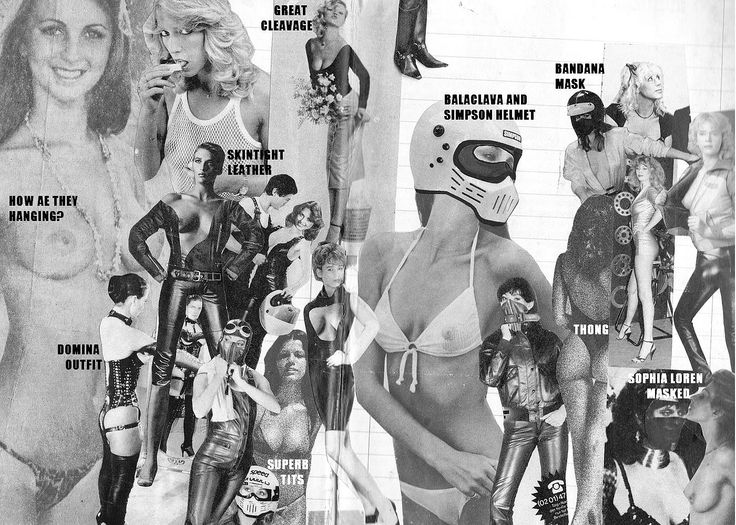 Vintage Fetish Art - Collage done by Laureth Dysiac #great cleavage #how are they hanging? #skintight leather #domina outfit #superb tits #simpson helmet #balaclava #bandana #masked #thong #sophia loren