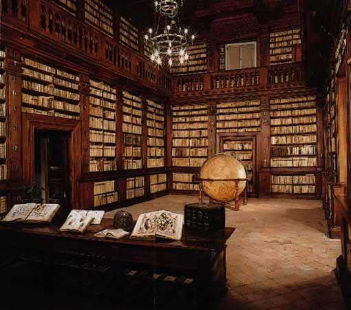 Sala del mappamondo, old library, 1688, Fermo, iTALY