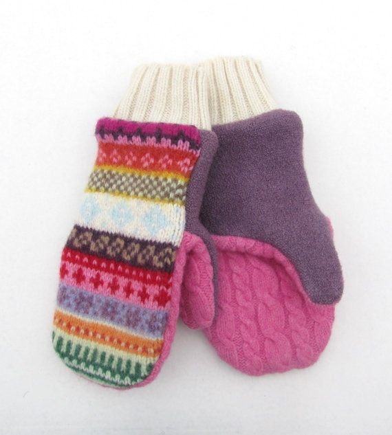 Wool Mittens Fleece Lined Multi Colored Fair Isle in Violet Red Pink ...