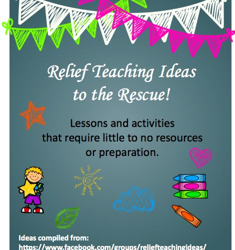 FREE Download: Lessons & Ideas that require little to no resources - perfect for a substitute teacher / relief teacher!