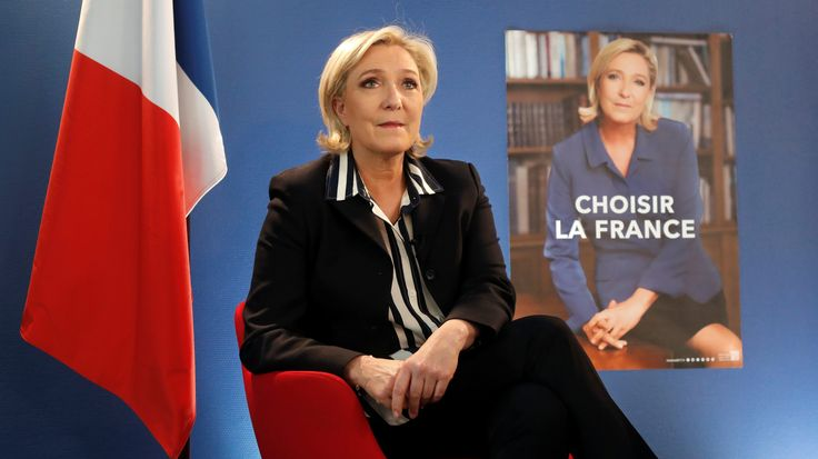 Marine Le Pen, French National Front (FN) candidate for 2017 presidential election, speaks during an interview with Reuters in Paris, France