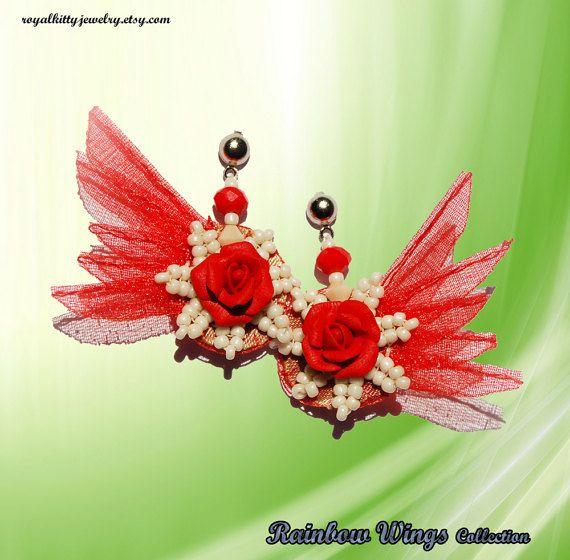 Red feather roses earrings stud earrings red by RoyalKittyJewelry