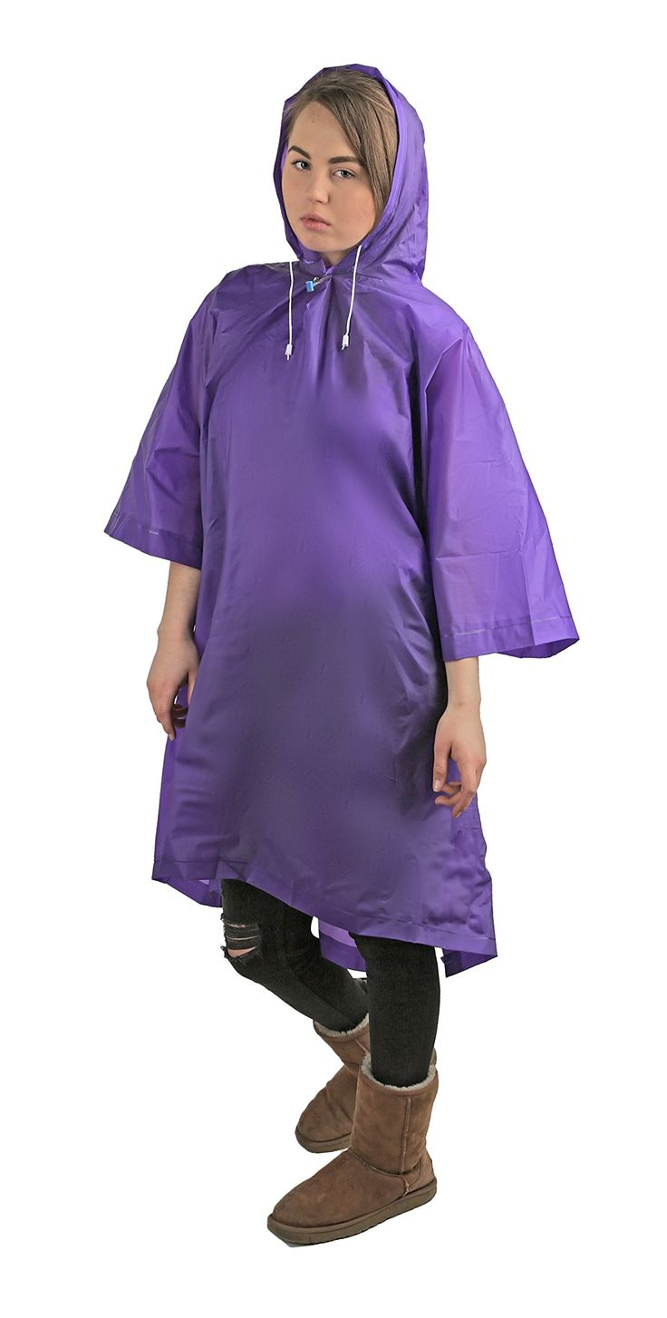 """Wealers Adult Poncho With Hood EVA Material Breathable and Lightweight Full Size Hooded Poncho Reusable Unisex Rainwear (Purple). Great lightweight Poncho, good for emergency's or everyday use, unisex for men and woman. Made of EVA breathable material reusable, 100% waterproof. Great fit one size fits most,. Compact portable folds easily, ans easy to carry, package size 9.5"""" x 7.5"""". Comes with tow line strong snap closure, and adjustable hood string. Perfect for your emergency kit…"""