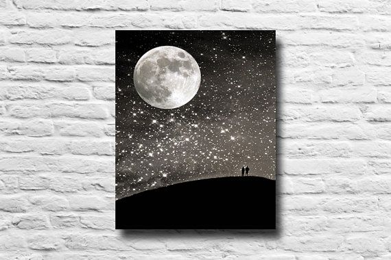 Night sky. Full moon. Silhouettes. stars starry by SSCphotography, $45.00