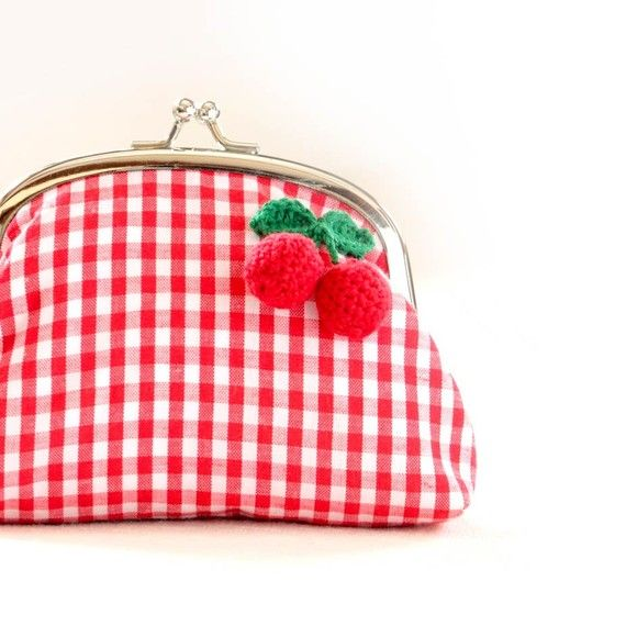 Handmade Frame Pouch with Red Cherries in Red by wildolivestudio