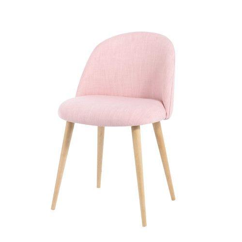 Sedia vintage rosa in tessuto e massello di betulla