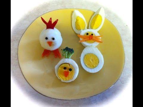 Ratones blancos de huevo cocido y queso.Perfecto para desayuno de los niños.