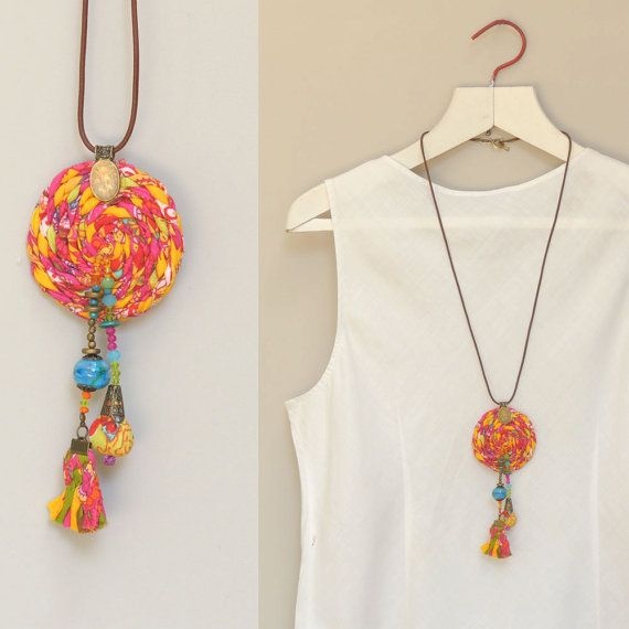 Orange Long pendant necklace, Statement fabric necklace, Gypsy jewelry / OOAK