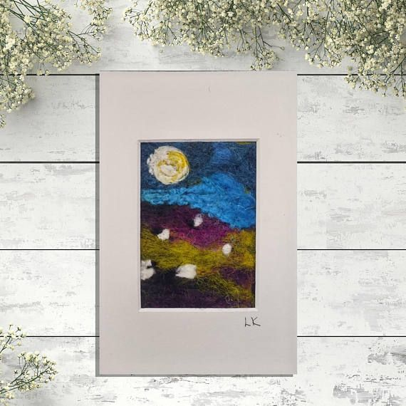 Sheep felted wool wall art Scotland landscape felt painting