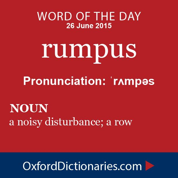 rumpus (noun): A noisy disturbance; a row. Word of the Day for 26 June 2015. #WOTD #WordoftheDay #rumpus