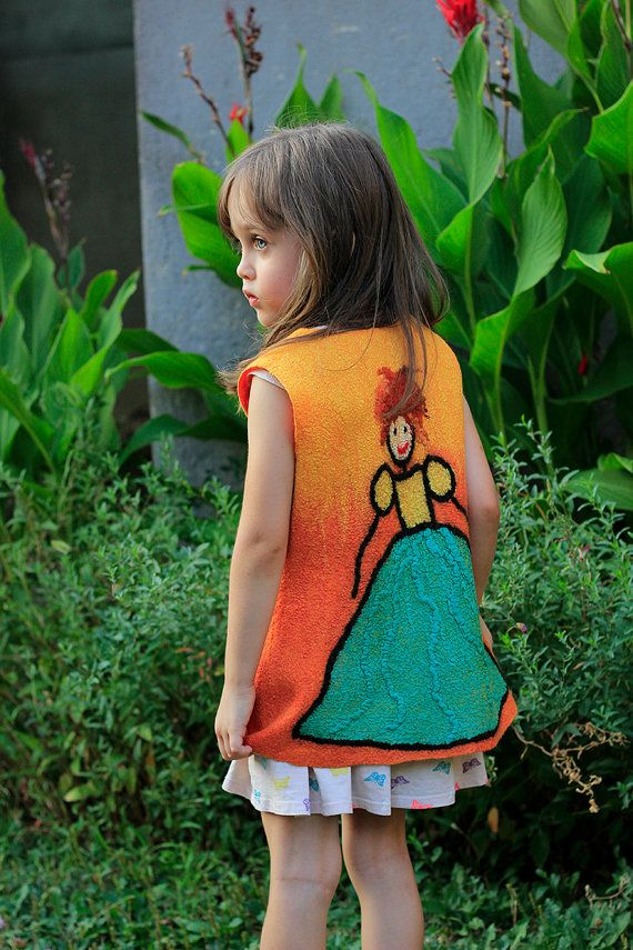 Orange yellow felted vest for girl Nuno felted baby girl jacket eco friendly fashion size 4 - 6 years