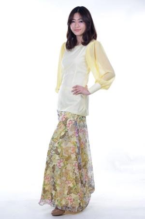 Yellow Cotton Modern Baju Kurung