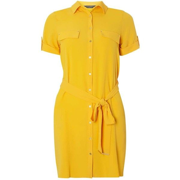 Dorothy Perkins Yellow button through tie waist shirt dress ($57) ❤ liked on Polyvore featuring dresses, yellow, dorothy perkins, shirt dress, t-shirt dresses, zip front shirt dress and yellow dress