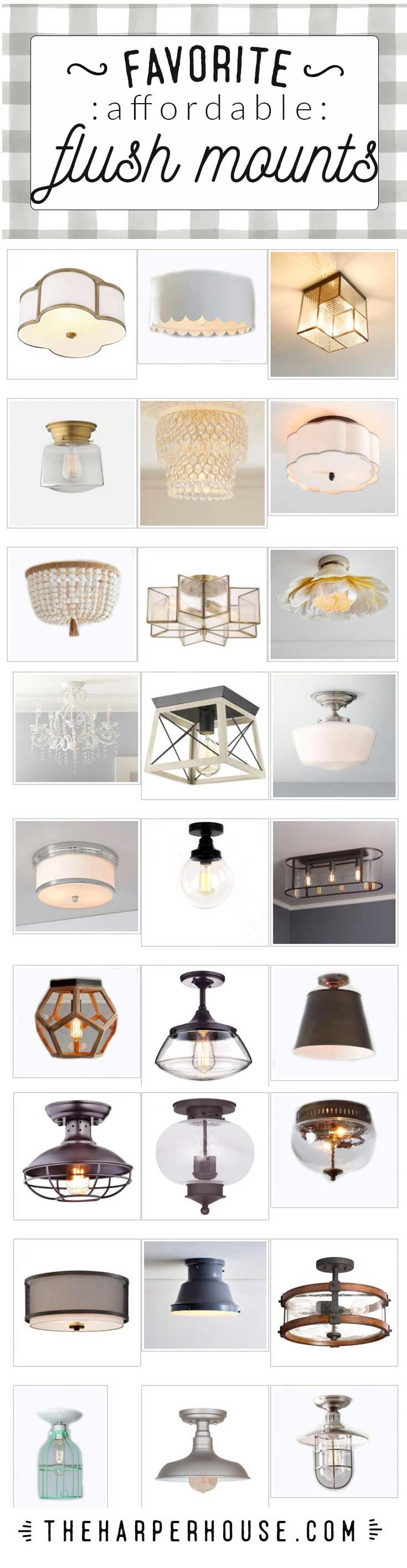Fresh farmhouse style flush mounts & semi flush mount lighting ideas for 2017. Full resource list and shopping links on the blog. Give your home some Fixer Upper style with these affordable flush mounts. #fixerupper #modernfarmhouse #lightfixtures