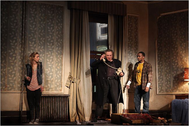 """""""A Behanding in Spokane"""" features, from right, Zoe Kazan, Christopher Walken and Anthony Mackie. In New York at the Gerald Schoenfeld Theater. Written by: Martin McDonagh, Directed by: John Crowley"""