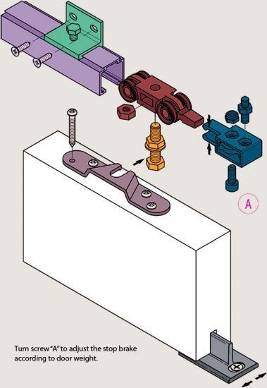 Compleet ophangsysteem schuifdeur Deur max 95 cm breed - 80 Kg