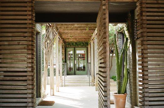 staying in austin: hotel san jose: Slats Wood, Porches Columns, Porch Columns, Horizontal Wood, Garage, House, Wood Pieces