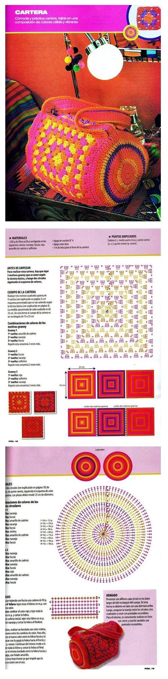 Barrel bag with granny squares - crochet pattern