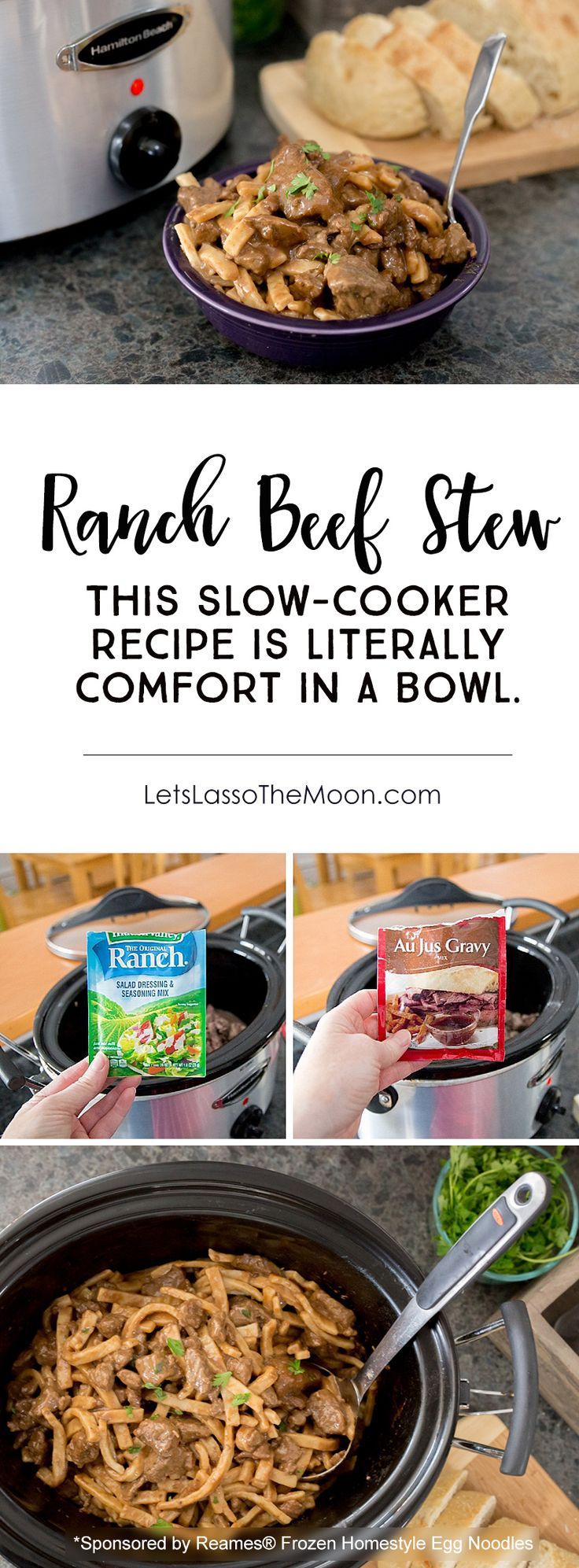 The flavorful Ranch Beef Stew is a super easy weekday dinner recipe, but is also perfect for a family get together. This classic crock pot recipe is transformed with a few unexpected ingredients (Hint: it is not what you expect). Served with frozen egg noodles, it is the perfect winter meal. Comfort in a bowl. *My family REALLY liked this one!
