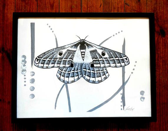 emperor moth original black and white painting in 18x24 black frame contemporary modern wall art titled