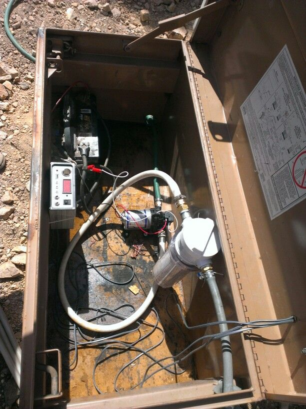 Our off grid solar water pump pressures up the whole hole!!! One car battery solar pannels from harbor freight and a water pump form a camper with a water filter. That's it total cost about 200 bucks or less