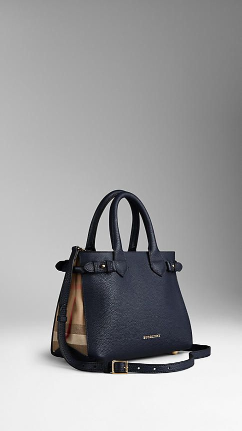 Burberry - 995E, Bleu de minuit Petit sac The Banner en cuir et House check
