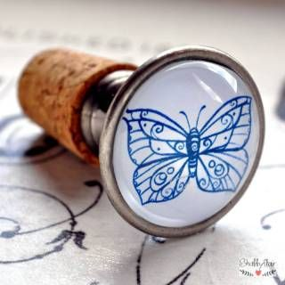 shabbyflair.de Flaschenstopfen mit sommerlichem Schmetterlings-Motiv