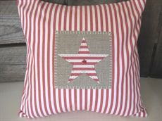 Show details for Red Ticking Star Cushion