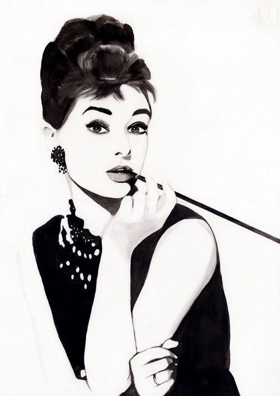 audrey hepburn illustration party theme tiffany party. Black Bedroom Furniture Sets. Home Design Ideas