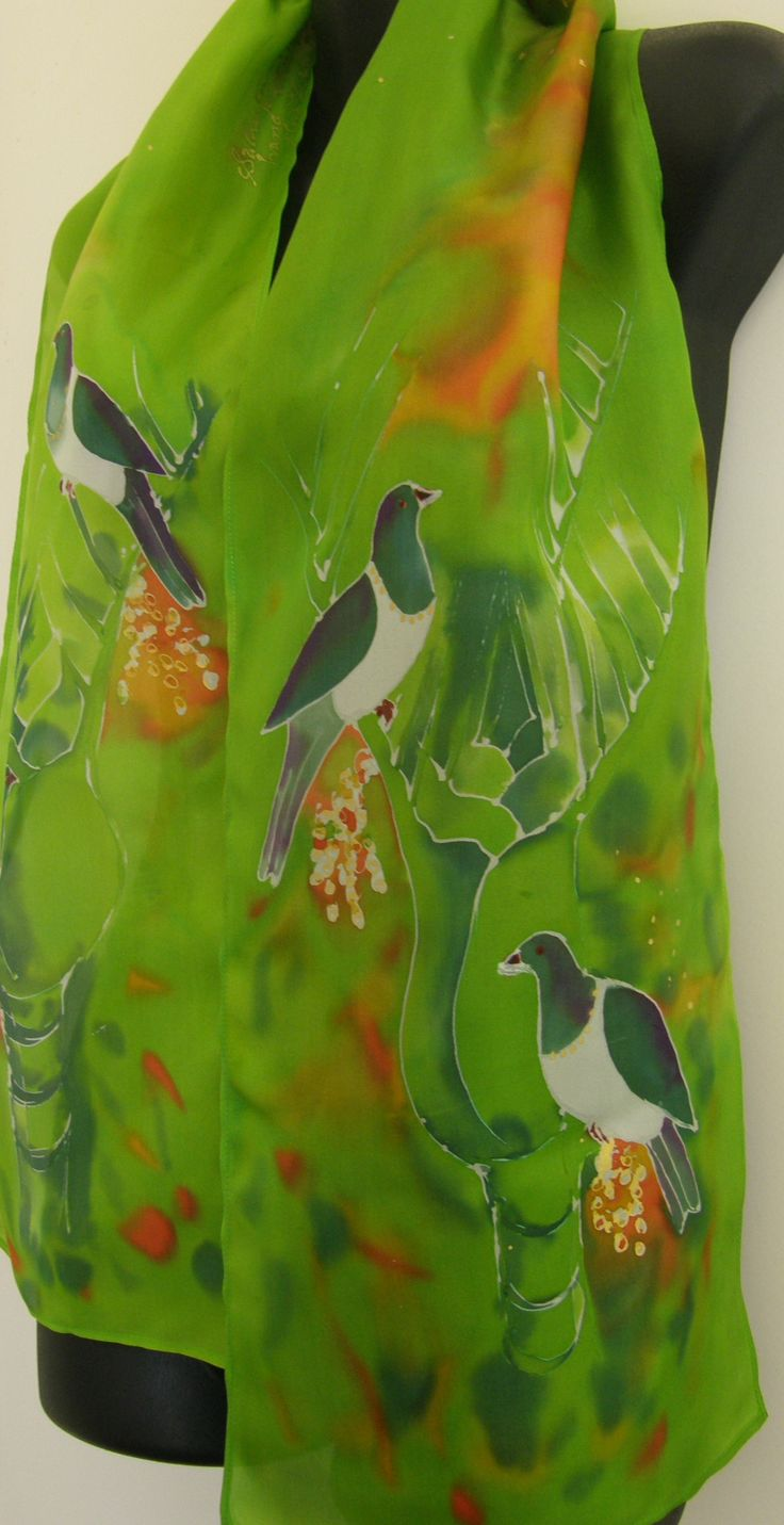 Silk Scarf NZ Kereru, our native woodpigeon, on Nikau Tree happily gorging themselves on the fruit. www.satherleysilks.co.nz
