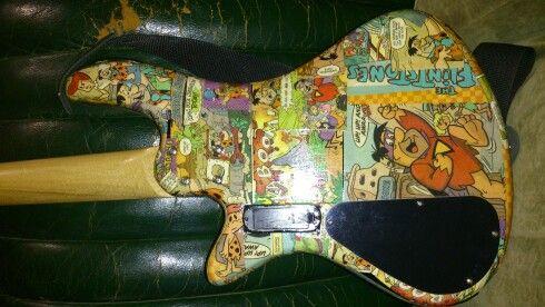 Custom made bass guitar by Nic back view *Flintstones Bedrock on!*