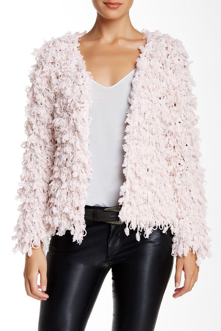 Chunky Knit Jacket In Blush