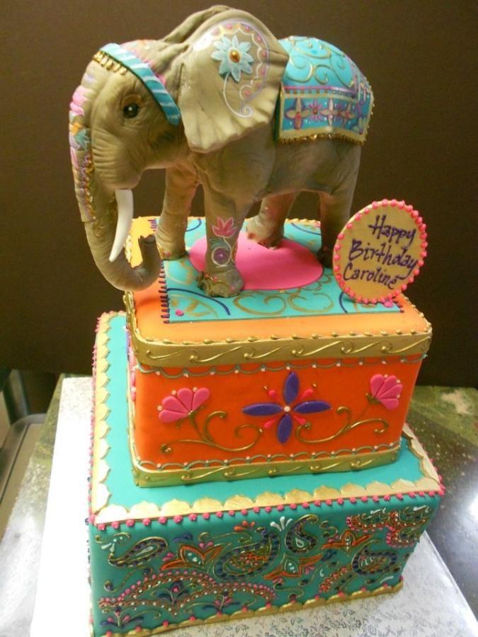 Peachy Indian Style Birthday Cake By Dina Elephant Cake Toppers Funny Birthday Cards Online Inifodamsfinfo