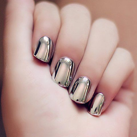 24 PCS Heavy Metal Style Solid Color Nails Art False Nails