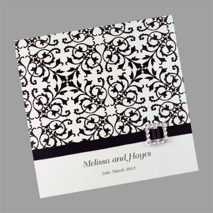 This wedding invitation is printed with a lace pattern which is available in more than 50 colours. www.kardella.com