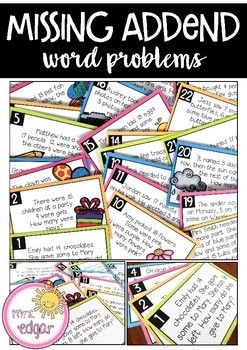 Missing Addend Word Problems | Task Cards
