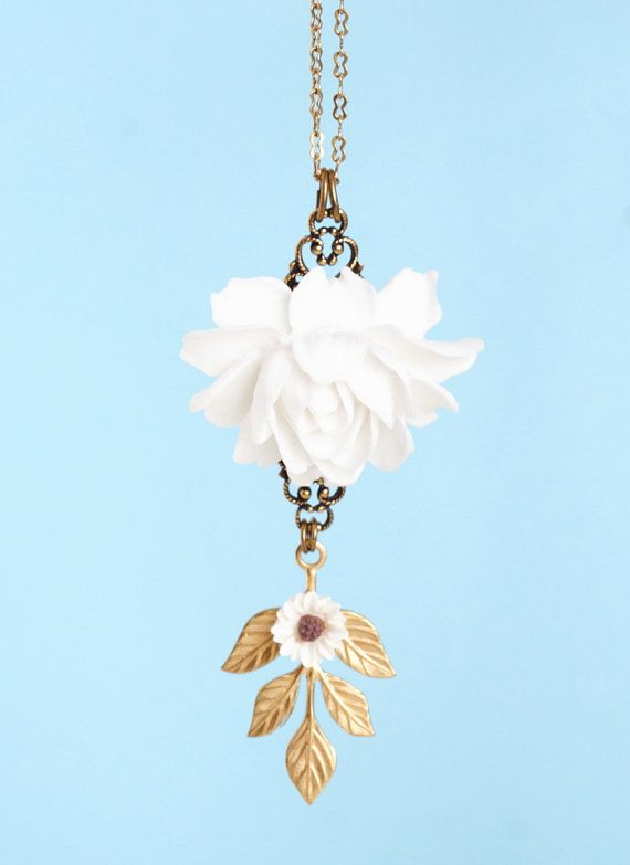 White+Rose+Necklace+With+Brass+Leaf+on+a+Brass+by+JacarandaDesigns,+$35.00
