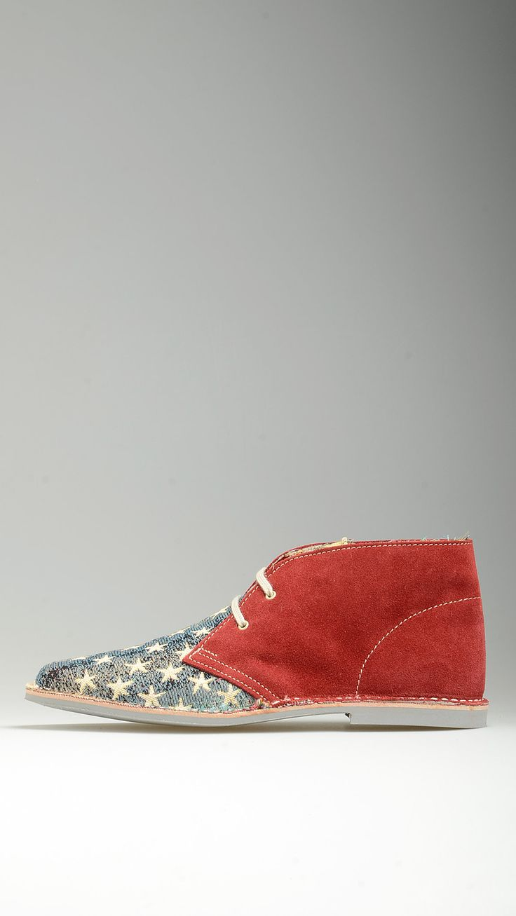 American stars flag embellished red suede lace-ups desert boots featuring contrast white cotton laces, leather intersole, desert boots manufacturing process, rubber sole, visible stitching, 100% finest canvas and suede.