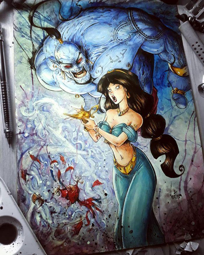 Princess Jasmine & The Genie | Disney horror, Dark disney art, Disney art