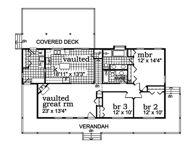 The Eagle Pine Acadian Home has 3 bedrooms and 2 full baths. See amenities for Plan 062D-0064.