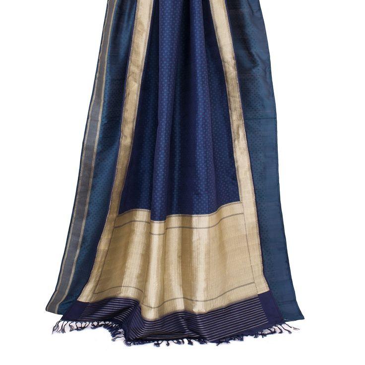 Taanbaan Handwoven Khadi Embroidered Silk Sari 1012189 - Sari / All Saris - Parisera