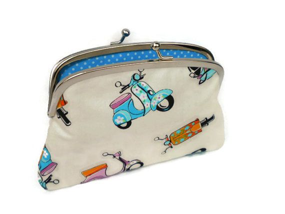 Cool coin purse, Moped scooter kiss lock  wallet with turquoise polka dot two compartments, vespa bike, ladies gift