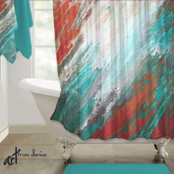 Abstract shower curtain teal aqua coral gray home decor for Teal and gray bathroom accessories